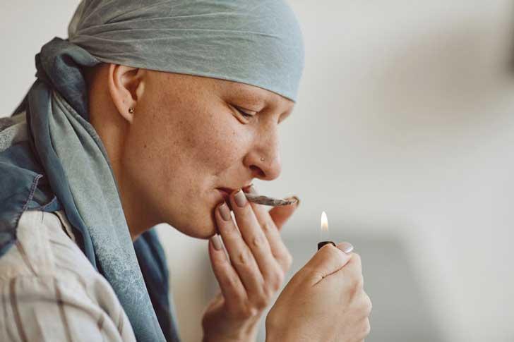 A cancer patient smokes marijuana
